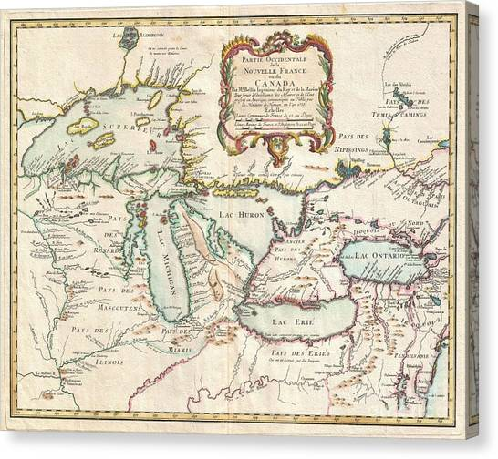 1755 Bellin Map Of The Great Lakes Canvas Print