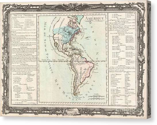 The Pantanal Canvas Print - 1760 Desnos And De La Tour Map Of North America And South America by Paul Fearn