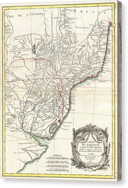 The Pantanal Canvas Print - 1771 Bonne Map Of Paraguay Uruguay And Brazil by Paul Fearn