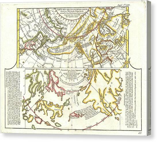 Using The River Canvas Print - 1772 Vaugondy Diderot Map Of Alaska The Pacific Northwest And The Northwest Passage by Paul Fearn