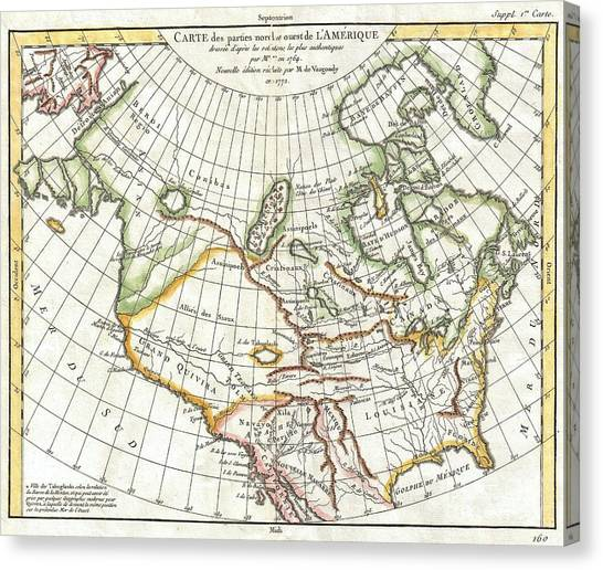 Real Salt Lake Canvas Print - 1772 Vaugondy  Diderot Map Of North America And The Northwest Passage by Paul Fearn
