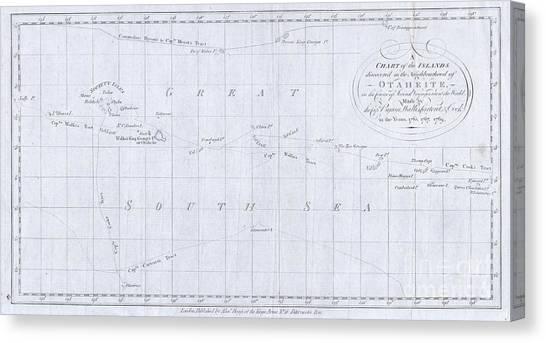 1780 Cook  Hogg Map Of Tahiti  Canvas Print