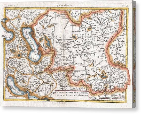 Ural Mountains Canvas Print - 1780 Raynal And Bonne Map Of Central Asia by Paul Fearn
