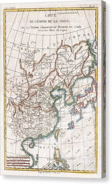 Vintage map of the world canvas prints page 16 of 46 fine art vintage map of the world canvas print 1780 raynal and bonne map of china korea gumiabroncs Gallery
