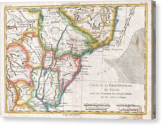 The Pantanal Canvas Print - 1780 Raynal And Bonne Map Of Southern Brazil Northern Argentina Uruguay And Paraguay by Paul Fearn