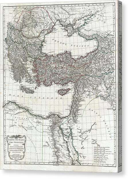 Arabian Desert Canvas Print - 1782 D Anville Map Of The Eastern Roman Empire by Paul Fearn