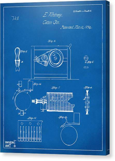 Gin Canvas Print - 1794 Eli Whitney Cotton Gin Patent 2 Blueprint by Nikki Marie Smith