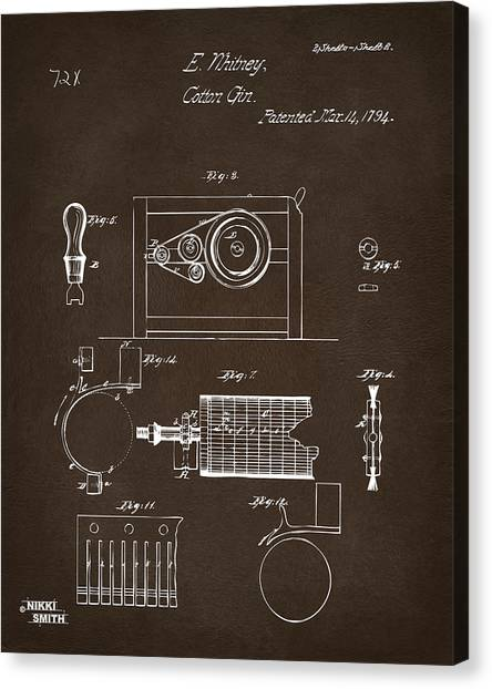 Gin Canvas Print - 1794 Eli Whitney Cotton Gin Patent 2 Espresso by Nikki Marie Smith