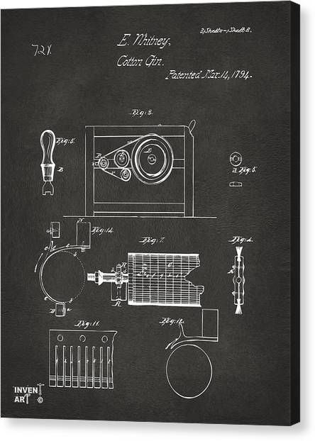 Gin Canvas Print - 1794 Eli Whitney Cotton Gin Patent 2 Gray by Nikki Marie Smith