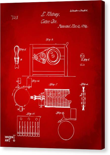 Gin Canvas Print - 1794 Eli Whitney Cotton Gin Patent 2 Red by Nikki Marie Smith
