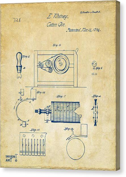 Gin Canvas Print - 1794 Eli Whitney Cotton Gin Patent 2 Vintage by Nikki Marie Smith