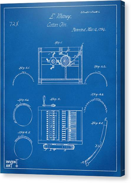Gin Canvas Print - 1794 Eli Whitney Cotton Gin Patent Blueprint by Nikki Marie Smith