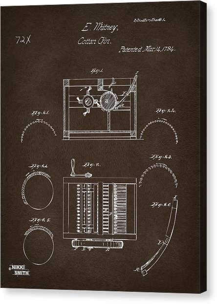 Gin Canvas Print - 1794 Eli Whitney Cotton Gin Patent Espresso by Nikki Marie Smith