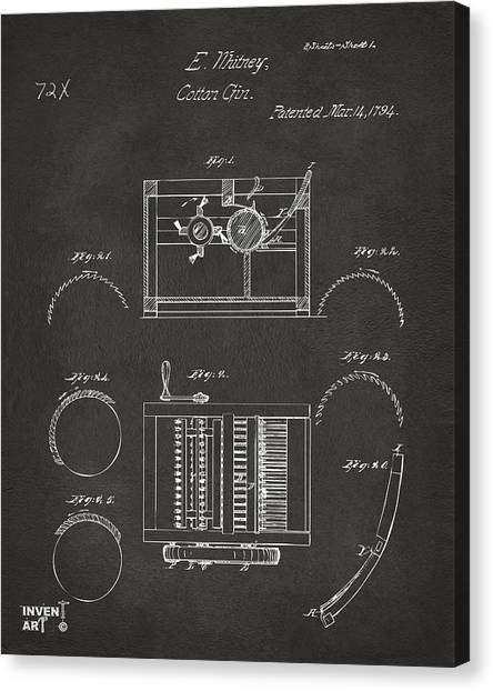 Gin Canvas Print - 1794 Eli Whitney Cotton Gin Patent Gray by Nikki Marie Smith