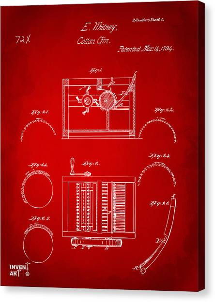 Gin Canvas Print - 1794 Eli Whitney Cotton Gin Patent Red by Nikki Marie Smith