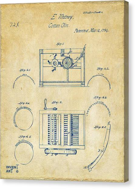 Gin Canvas Print - 1794 Eli Whitney Cotton Gin Patent Vintage by Nikki Marie Smith