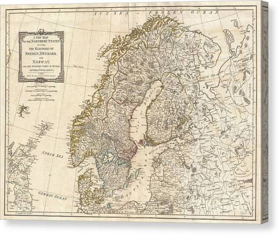 1794 Laurie And Whittle Map Of Norway Sweden Denmark And Finland Canvas Print