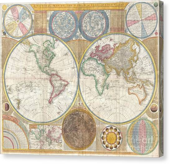 The Pantanal Canvas Print - 1794 Samuel Dunn Wall Map Of The World In Hemispheres by Paul Fearn