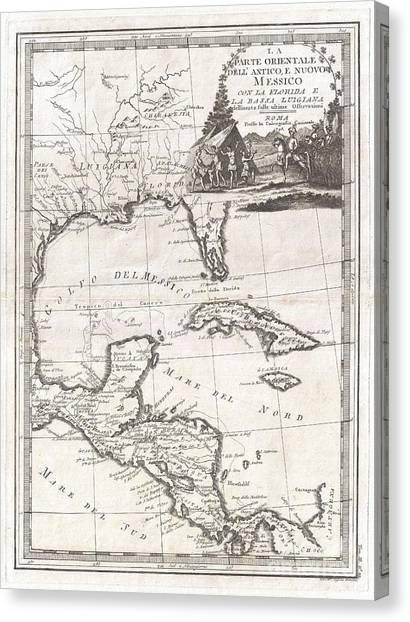 1798 Cassini Map Of Florida Louisiana Cuba And Central America Canvas Print