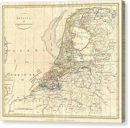 Drew Brees Canvas Print - 1799 Clement Cruttwell Map Of Holland Or The Netherlands by Paul Fearn