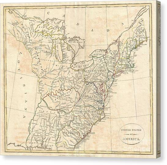 Pre-modern Art Canvas Print - 1799 Cruttwell Map Of The United States Of America by Paul Fearn