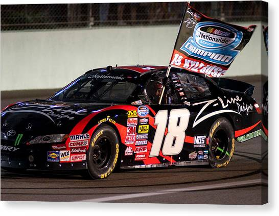 Kyle Busch Canvas Print - 18 Kyle Busch by Kevin Cable