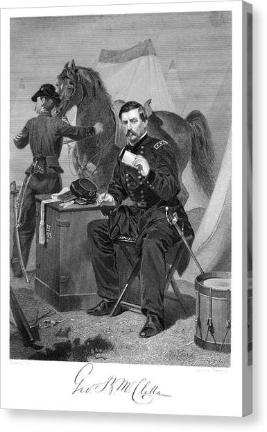 Folding Chair Canvas Print - 1800s 1865s General George Brinton by Vintage Images
