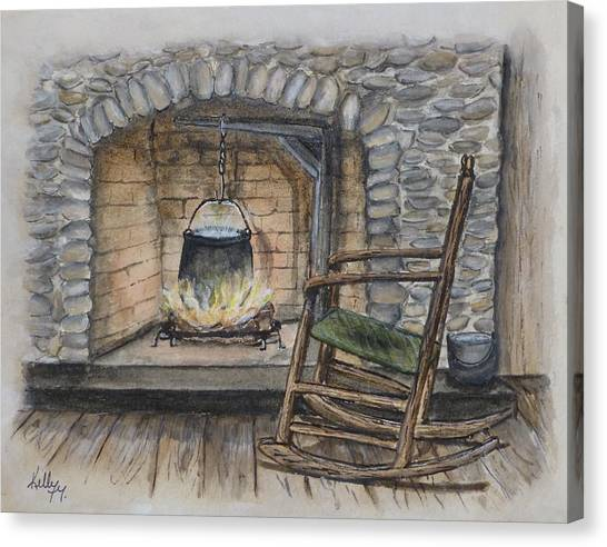1800s Cozy Cooking .... Fire Place Canvas Print
