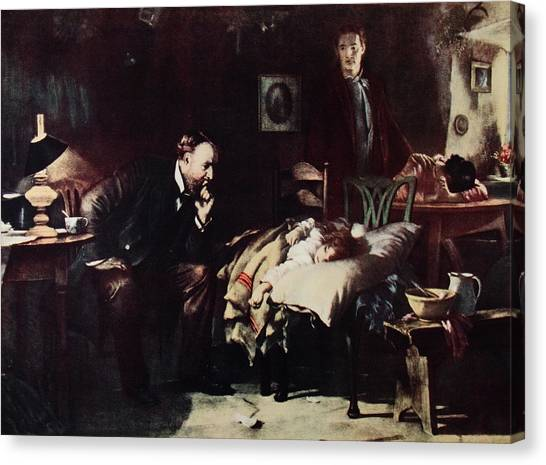 Sick Canvas Print - 1800s Rural Country Doctor Ponders Fate by Vintage Images