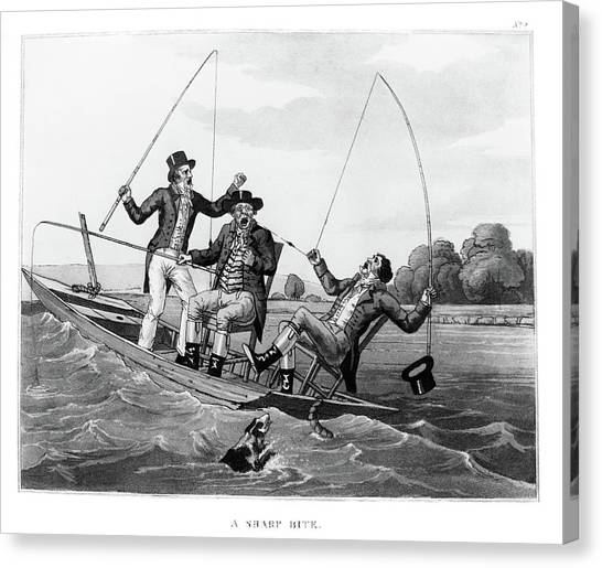Angler Art Canvas Print - 1800s Three 19th Century Men In Boat by Vintage Images