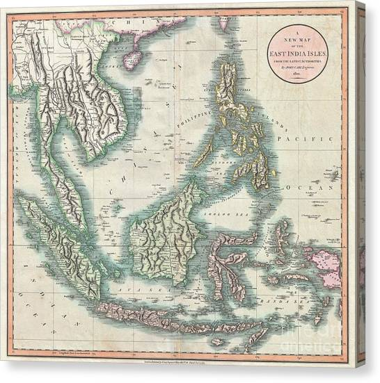 Krakatoa Canvas Print - 1801 Cary Map Of The East Indies And Southeast Asia  Singapore Borneo Sumatra Java Philippines by Paul Fearn
