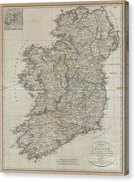 1804 Jeffreys And Kitchin Map Of Ireland Canvas Print