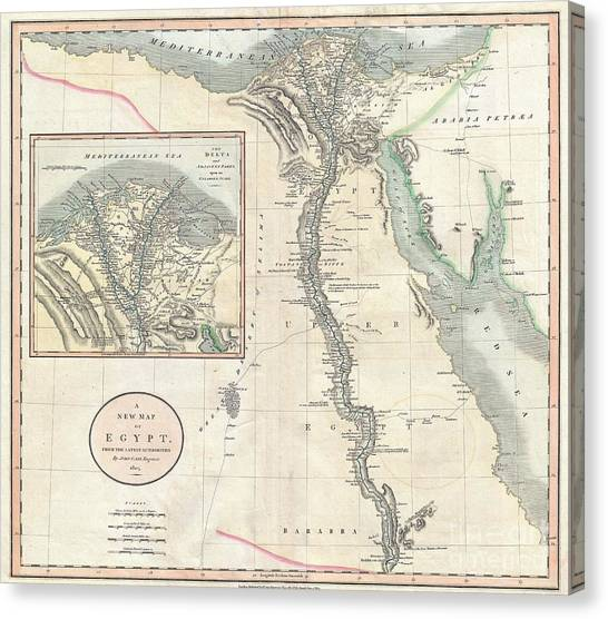 Coptic Art Canvas Print - 1805 Cary Map Of Egypt by Paul Fearn