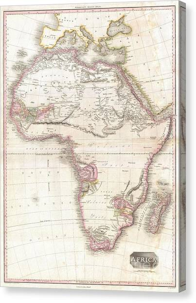 Coptic Art Canvas Print - 1818 Pinkerton Map Of Africa by Paul Fearn