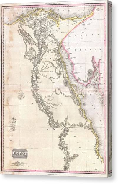 Coptic Art Canvas Print - 1818 Pinkerton Map Of Egypt by Paul Fearn