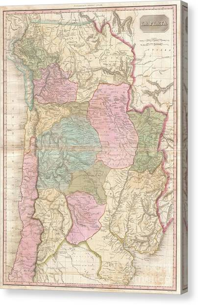 Pre-modern Art Canvas Print - 1818 Pinkerton Map Of Of La Plata Southern South America Argentina Chile Bolivia by Paul Fearn