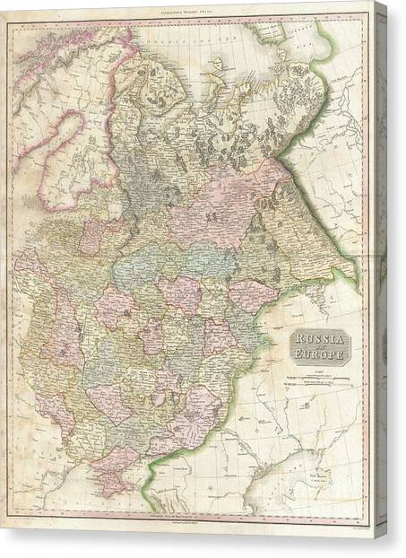 Ural Mountains Canvas Print - 1818 Pinkerton Map Of Russia In Europe by Paul Fearn