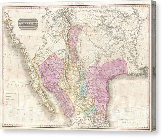Pre-modern Art Canvas Print - 1818 Pinkerton Map Of The American Southwest by Paul Fearn