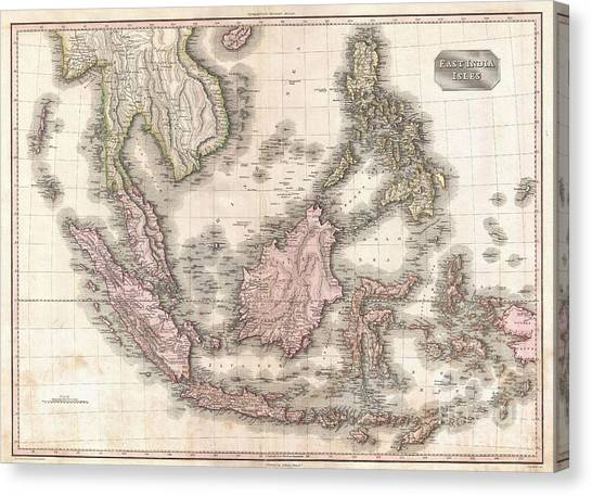 Krakatoa Canvas Print - 1818 Pinkerton Map Of The East Indies And Southeast Asia by Paul Fearn