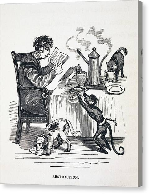 Academic Art Canvas Print - 1836 Caricature Of Abesent Minded Prof. by Paul D Stewart