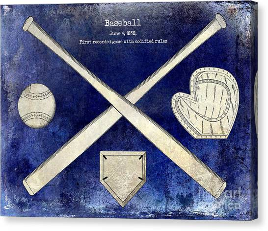 Orioles Canvas Print - 1838 Baseball Drawing 2 Tone Blue by Jon Neidert