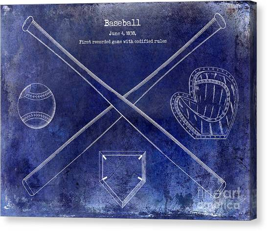 Baseball Gloves Canvas Print - 1838 Baseball Drawing Blue by Jon Neidert