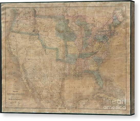 1839 Burr Wall Map Of The United States  Canvas Print
