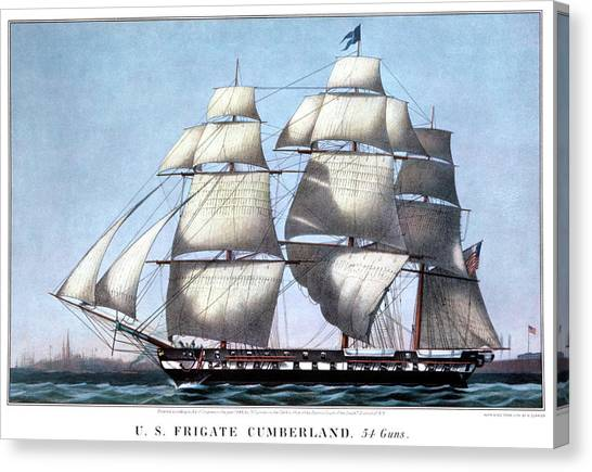 1880s Canvas Print - 1840s Uss Frigate Cumberland, 54 Guns - by Vintage Images