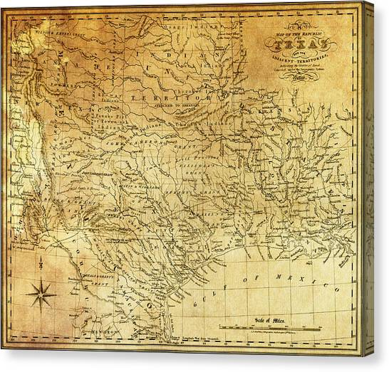 Independent Canvas Print - 1841 Republic Of Texas Map by Daniel Hagerman