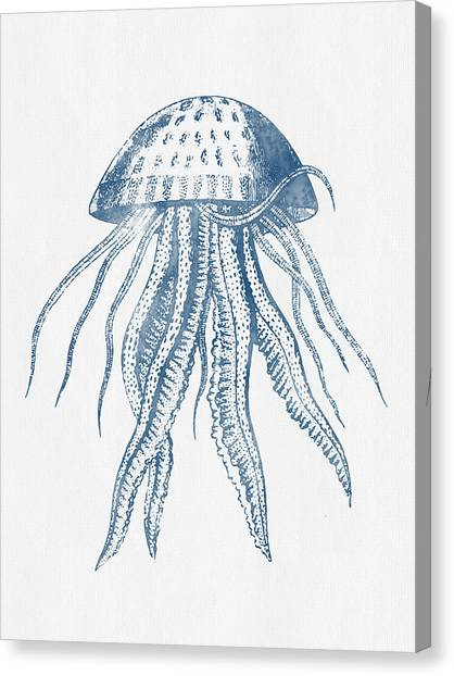 Saltwater Life Canvas Print - 1844 Octopus Ink Drawing by Aged Pixel