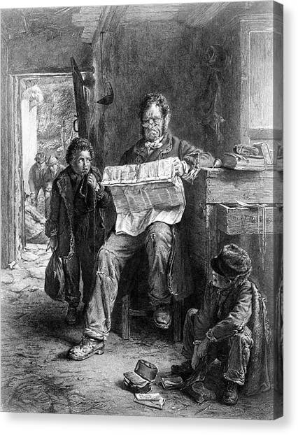 Detention Canvas Print - 1850s Boy Student Kept After School by Vintage Images