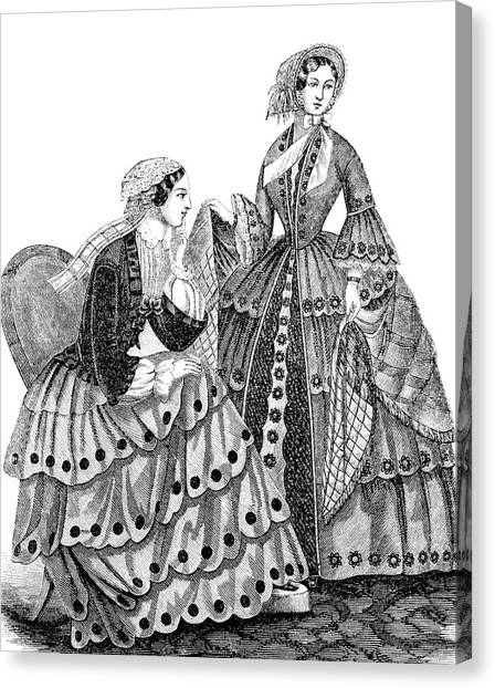 Womens Rights Canvas Print - 1850s Engraving Of Womens Fashions by Vintage Images