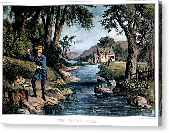Angling Art Canvas Print - 1850s The Trout Pool Fishing - Currier by Vintage Images