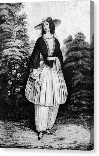 Womens Rights Canvas Print - 1850s Woman Wearing The Bloomer Costume by Vintage Images